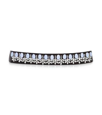 Blue gemstone slim stretch belt