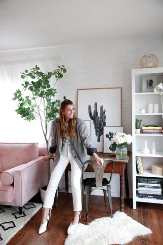 b a r t a b a c blogger jacket jeans shoes t-shirt blazer white jeans spring outfits