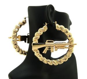 Urban Ghetto Style Machine Gun Hollow Pincatch Hoop Rope Design Earrings HYER30 | eBay