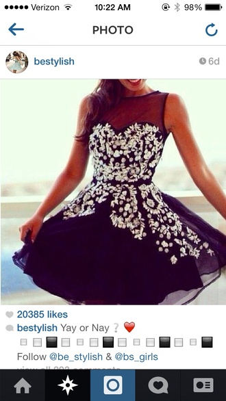 dress sparkly dress black for christmas homecoming dress floral homecoming gems gemstone