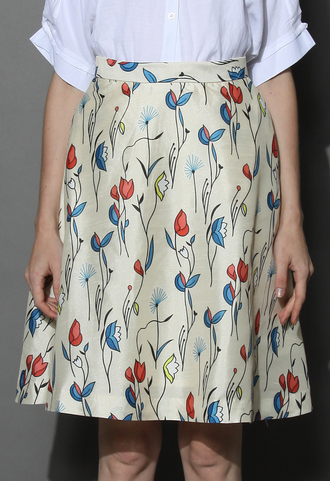 skirt fly with tulips printed midi skirt in ivory chicwish floral skirt skater skirt summer skirt cute skirt chicwish.com