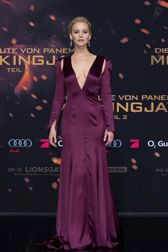 dress jennifer lawrence plunge v neck plunge dress gown prom dress plum cut-out dress the hunger games
