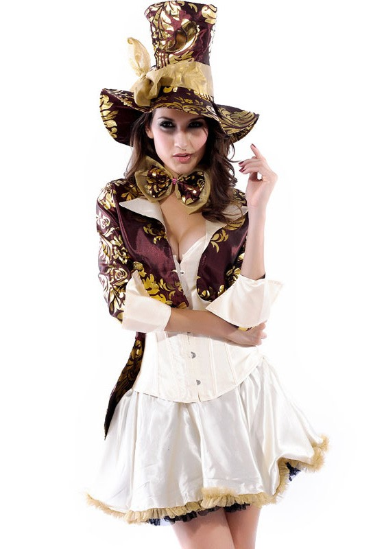 Magician Fantasy Halloween Dress with Mad Hatter
