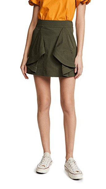 TANYA TAYLOR skirt green army green