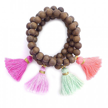 Gray Wood Tassel Beaded Bracelet