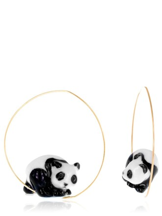 panda earrings white black jewels