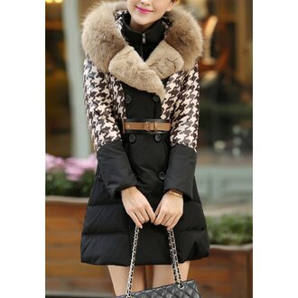 coat black houndstooth fall outfits winter outfits fashion style trendsgal.com