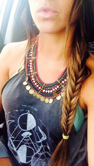 rainbow jewels necklace boho gypsy gypsy one hippie moon