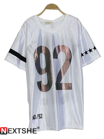 White renowned no.92 print short sleeve t