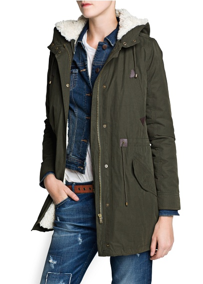 MANGO - CLOTHING - Jackets - Faux shearling-lined parka