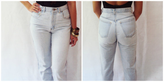 High waist denim jeans light wash denim jeans by wayfarervintage