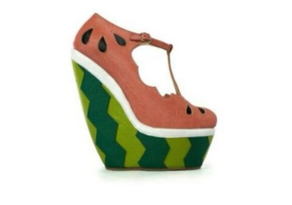 shoes high heels pink watermelon print green wedges party girly food