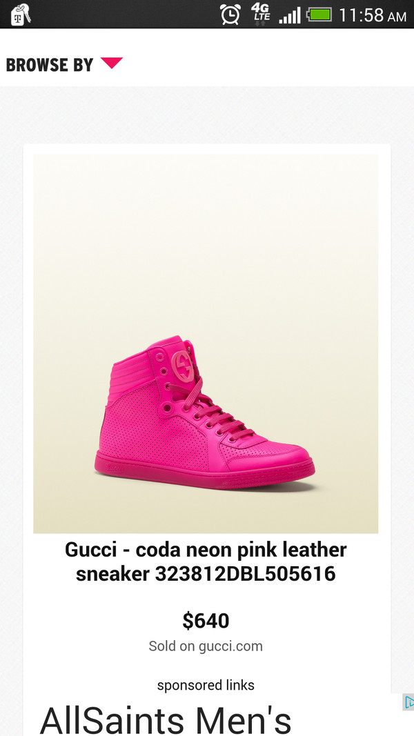 60ca47bd6 Gucci Coda Neon Leather High-Top Sneaker, Pink - Neiman Marcus
