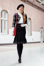 hat,black beret,white shirt,black checkered blazer,black pencil skirt,black tights,blogger