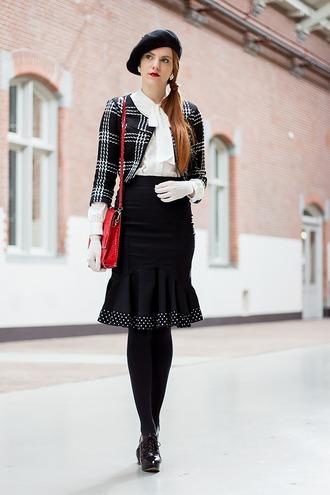 hat black beret white shirt black checkered blazer black pencil skirt black tights blogger