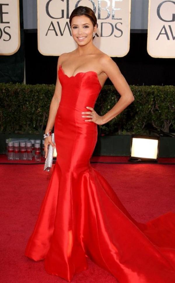 Dress: prom red dress eva longoria golden globes golden globes ...