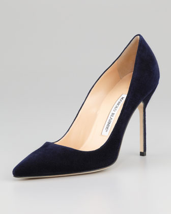 Manolo Blahnik BB Suede 105mm Pump, Navy (Made to Order) - Neiman Marcus