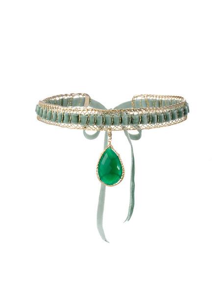 women pendant velvet green jewels