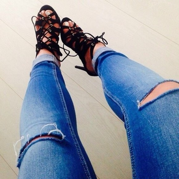 shoes open toes high heels strappy heels jeans