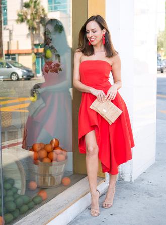 sydne summer's fashion reviews & style tips blogger dress jewels bag shoes make-up red dress clutch sandals high heel sandals