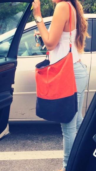 bag purse blue orange