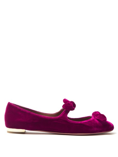bow flats velvet pink shoes