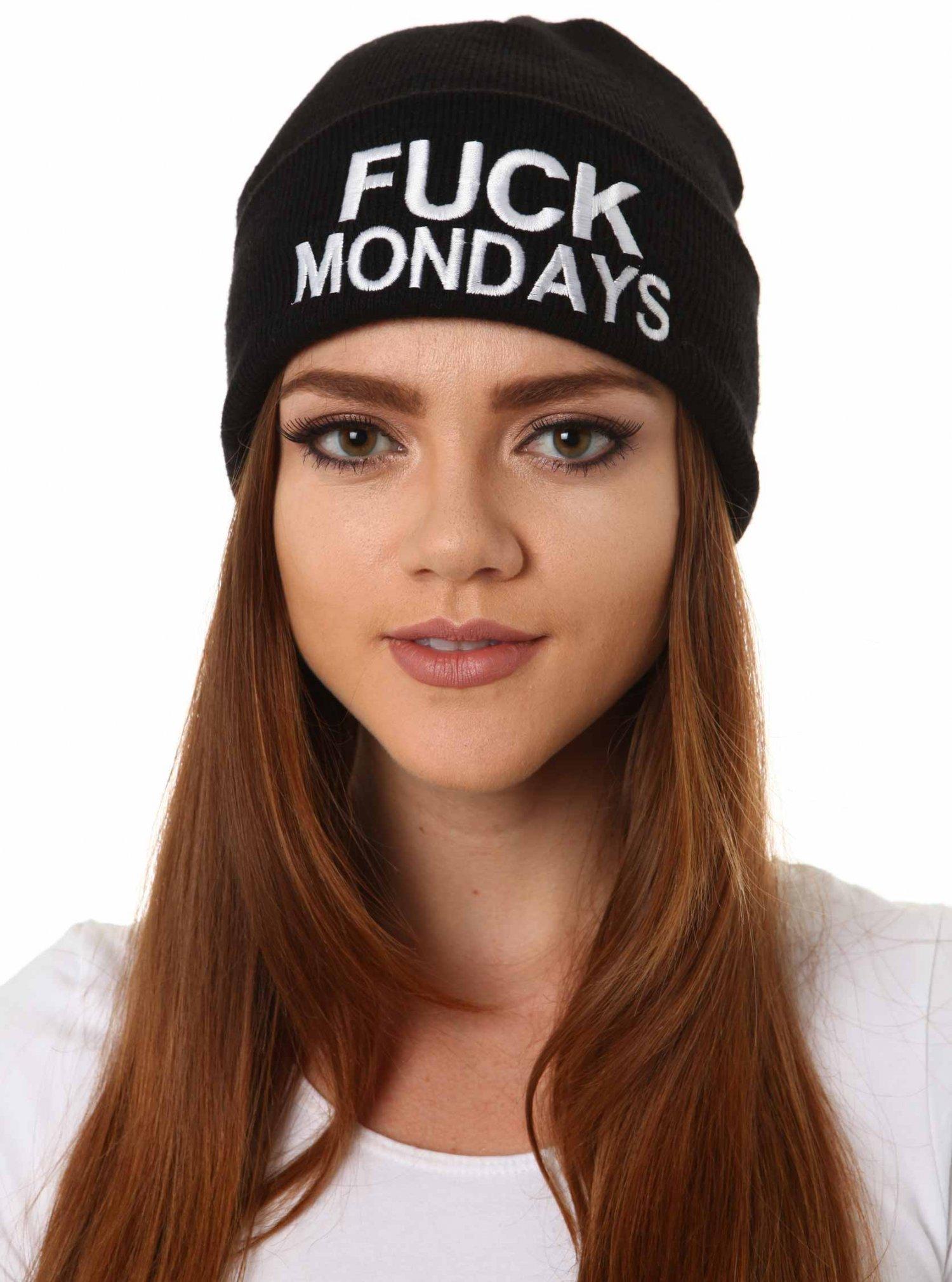 Black Beanie - Fuck Mondays Beanie | UsTrendy