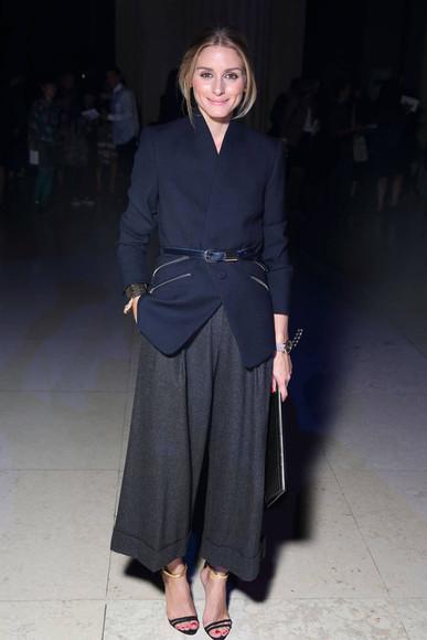 olivia palermo sandals high heels fashion week 2014 pants jacket blazer