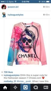 sweatshirt,chanel inspired,chanel,chanel sweater,skull sweater,skull