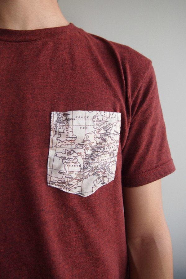 t-shirt red t-shirt world map map print pockets red tshirt t-shirt burgundy t shirt print map print shirt