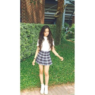 skirt camila cabello plaid skirt tennis skirt grey