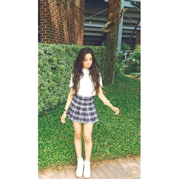 skirt camila cabello plaid skirt tennis skirt grey