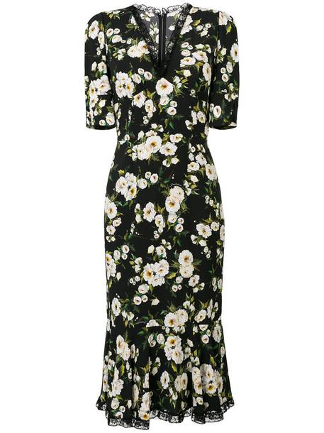 Dolce & Gabbana dress printed dress women spandex black silk