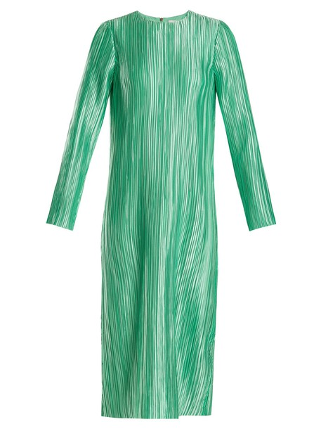 dress midi dress pleated long midi green