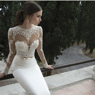 dress beautiful prom dress white lace classy vintage whit promdress