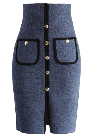 skirt studded pockets knitted pencil skirt in blue chicwish pencil skirt blue skirt