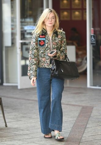 jacket fall outfits elle fanning jeans denim streetstyle