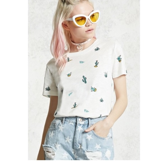 50% off Forever 21 Tops - NWT Forever 21 cactus shirt- large from Emily's closet on Poshmark