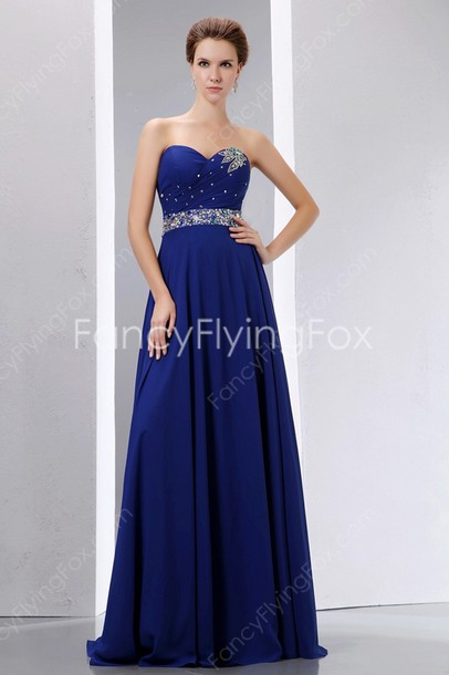 A Line Chiffon Royal Blue Party Dress