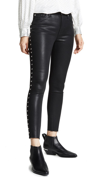 7 For All Mankind Studded Ankle Skinny Jeans in black