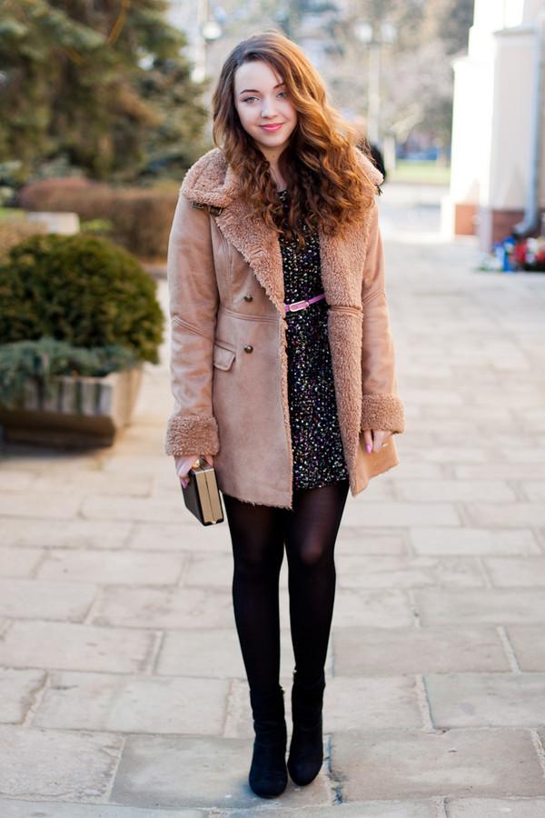 kolorowa dusza coat dress bag jewels belt shoes