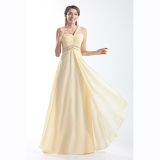 Yellow one shoulder ruched chiffon floor