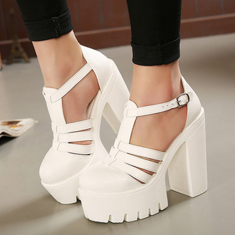 shoes white platform shoes summer heels fashion soft grunge boogzel