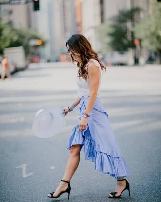 skirt tumblr blue skirt asymmetrical asymmetrical skirt wrap skirt wrap ruffle skirt ruffle sandals sandal heels high heel sandals top white top sleeveless sleeveless top hat