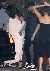 dress,blush grecian dress,selena gomez