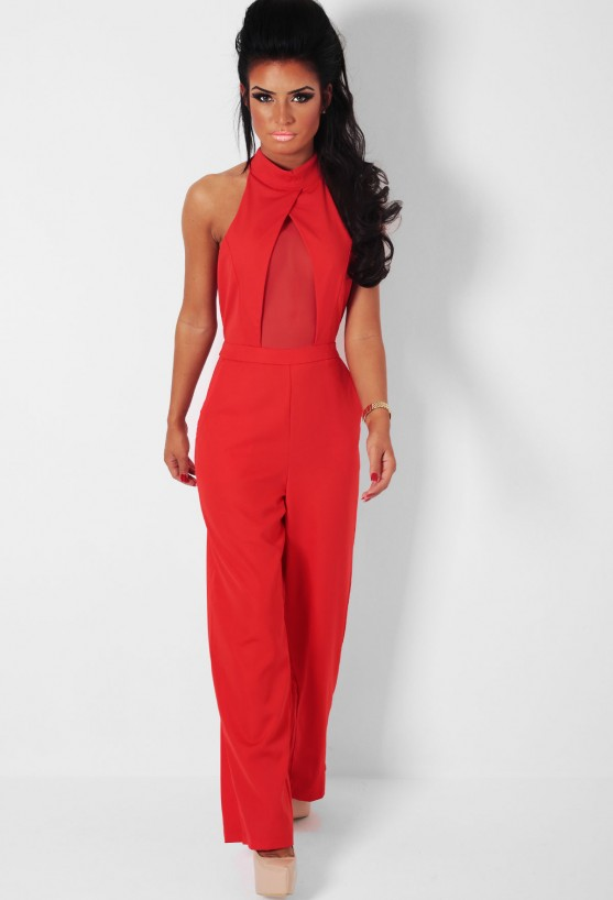 Bollinger red halter neck jumpsuit