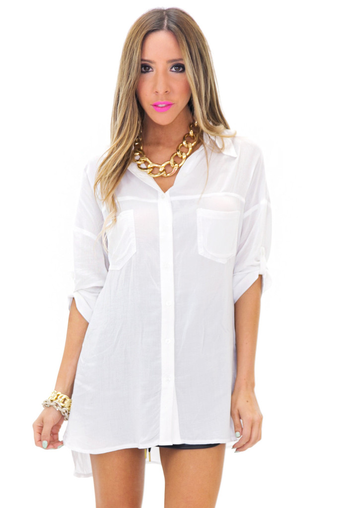 GRAYSON BUTTON-UP DRESS SHIRT - White | Haute & Rebellious