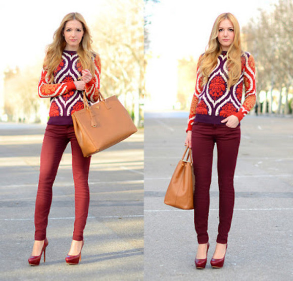 red pants bag red heels