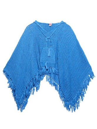 poncho crochet light blue light blue top