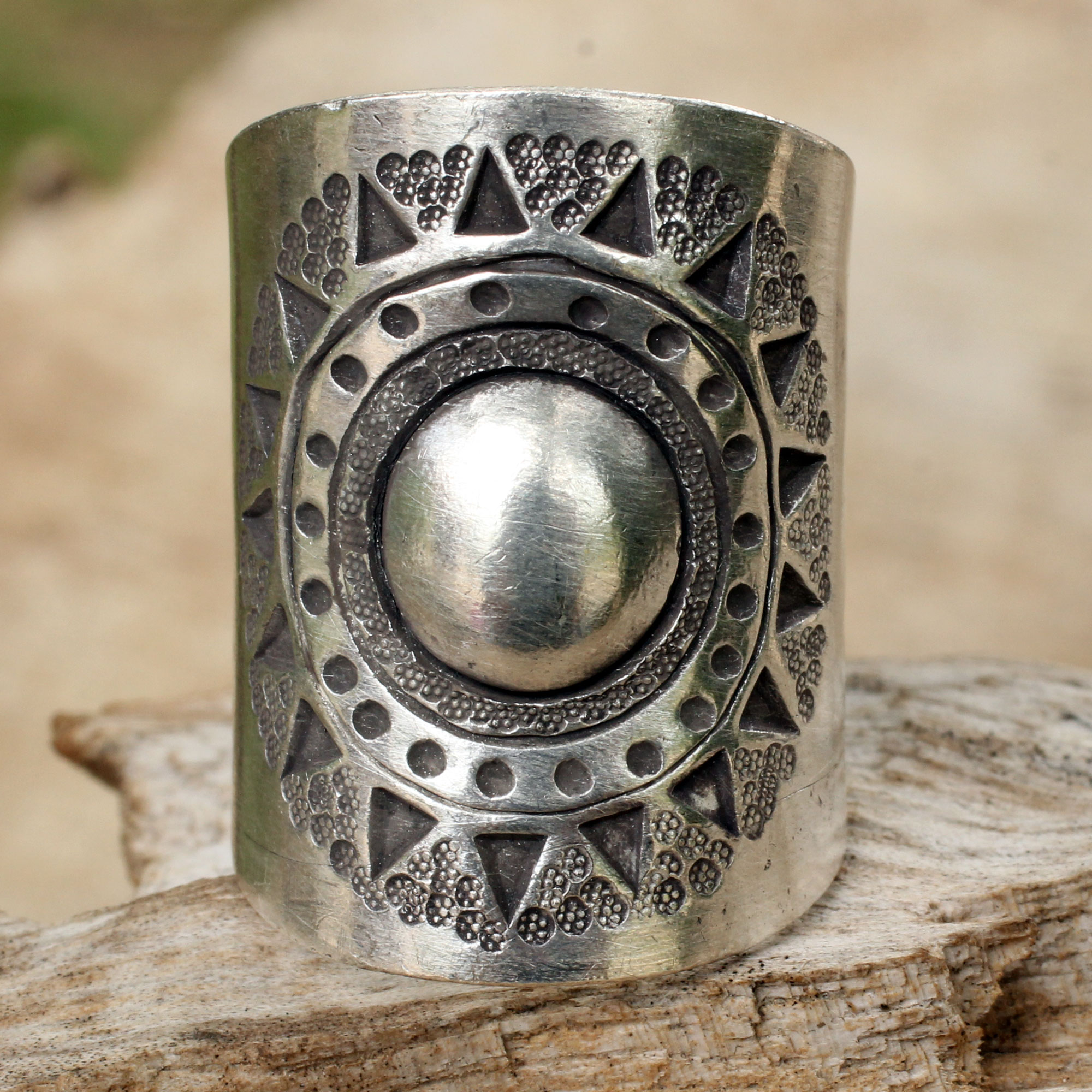 Handmade Sterling Silver Wrap Ring - Hill Tribe Sun | NOVICA